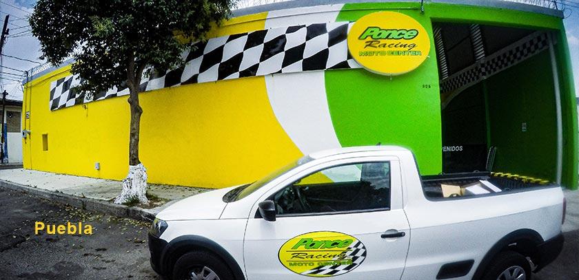 Exterior sucursal ponce racing Puebla y camioneta